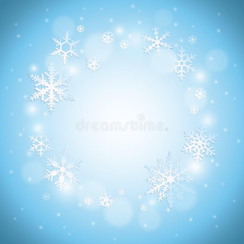 tło płatków śniegu biały niebieska zima ilustracji