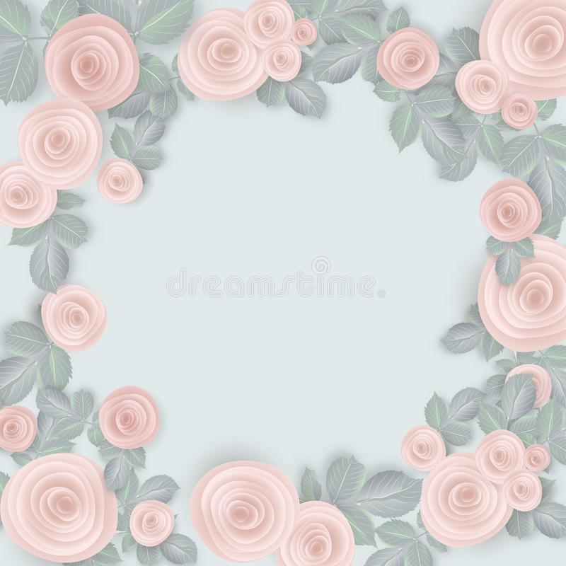 tło płatkami róż rose walentynki ślub Różowe róże na błękitnym tle ilustracji