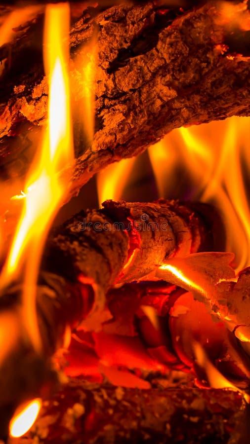 Tło płonący drewno fotografia royalty free