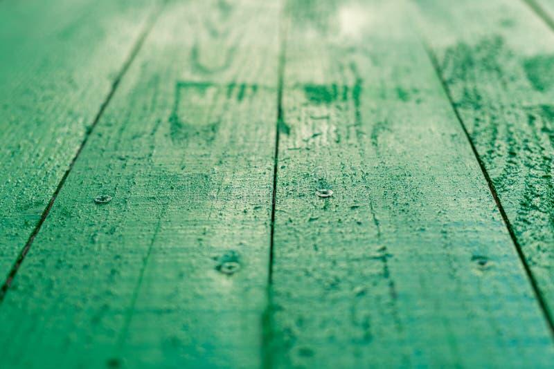 Tło płyt drewnianych malowanych zieloną farbą fotografia stock