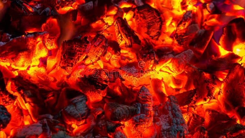 Tło palić gorących węgle, aktywnie tli się f embers zdjęcie royalty free