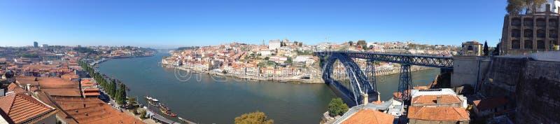 Tło panoramy krajobrazowy widok od wagonu kolei linowej bulwar Nowa De Gaia Vila, Porto Duoro i rzeka, fotografia stock