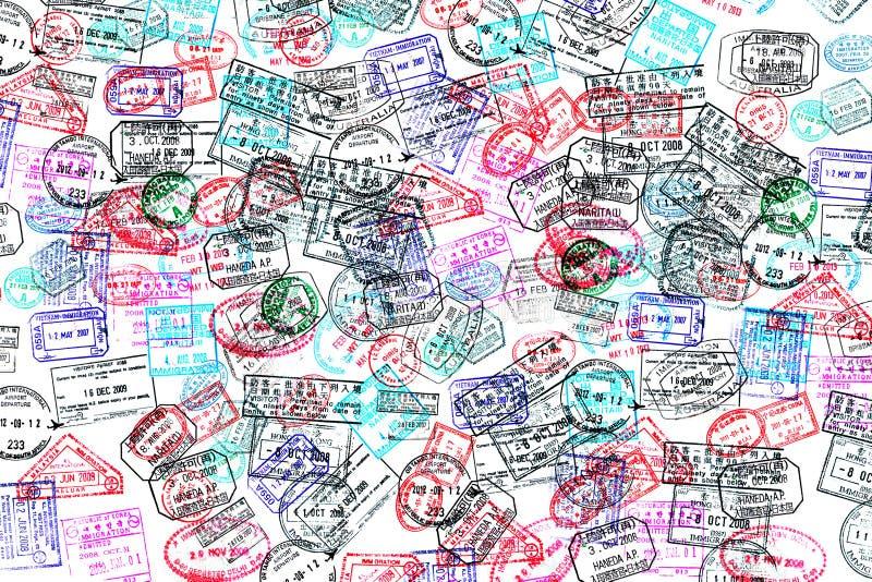 Tło paszportowi znaczki fotografia royalty free