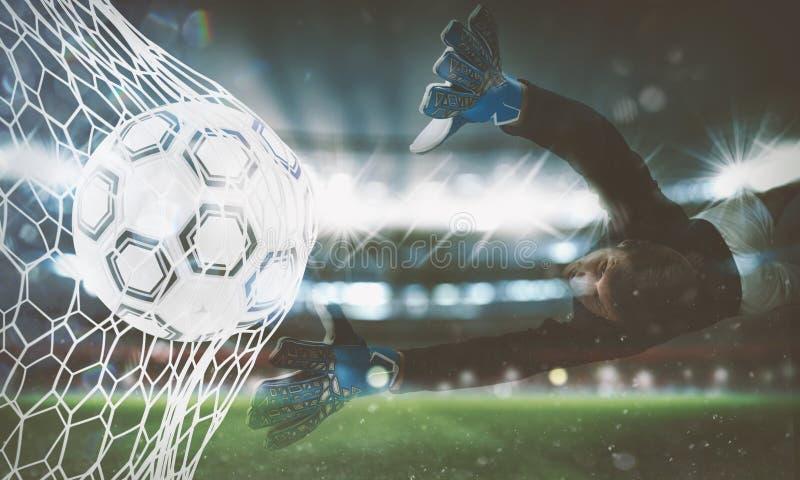 Tło piłki nożnej piłka zdobywa punkty cel na sieci świadczenia 3 d obraz royalty free