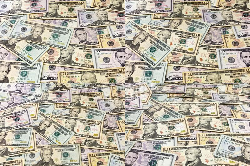 Tło pieniądze gotówki amerykanina kolaż fotografia stock