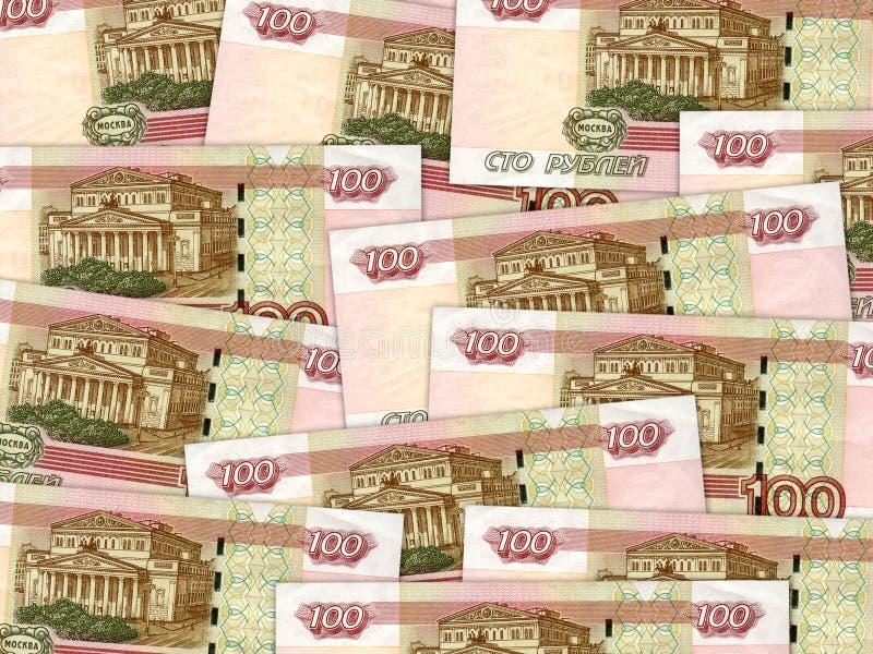 Tło pieniądze stosu 100 rosyjscy rublowi rachunki obrazy royalty free
