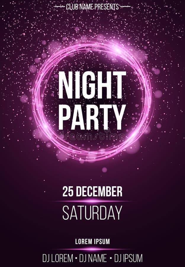 Tło pionowo plakat dla nocy przyjęcia Olśniewający purpurowy sztandar z purpura pyłu Abstrakcjonistycznymi purpurami zaświeca świ ilustracji