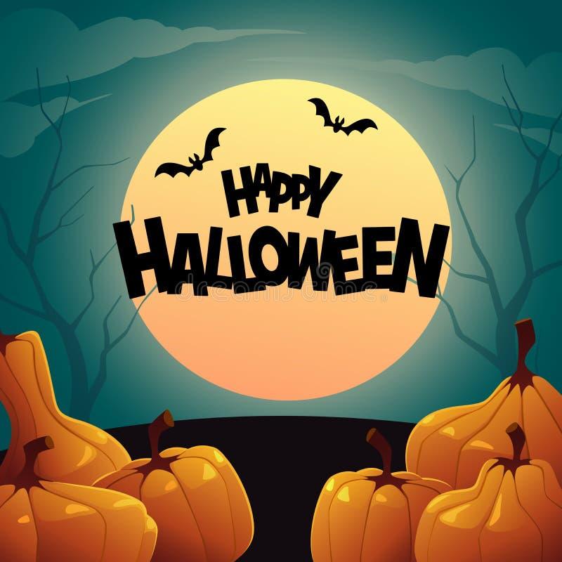 Tło pomarańczowe jesieni banie Szczęśliwy Halloween ilustracji
