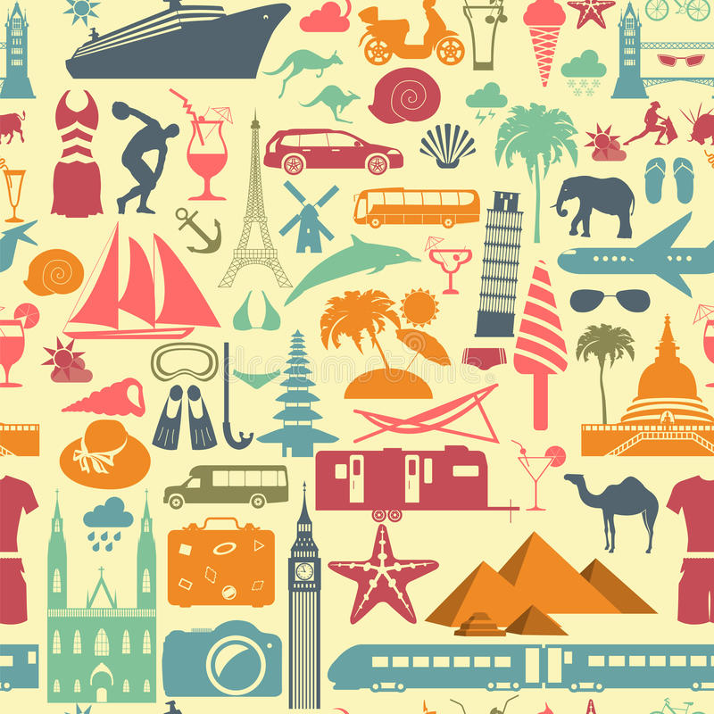 tło portfolio więcej mój podróż wakacje Miejscowość nadmorska bezszwowy wzór ilustracji