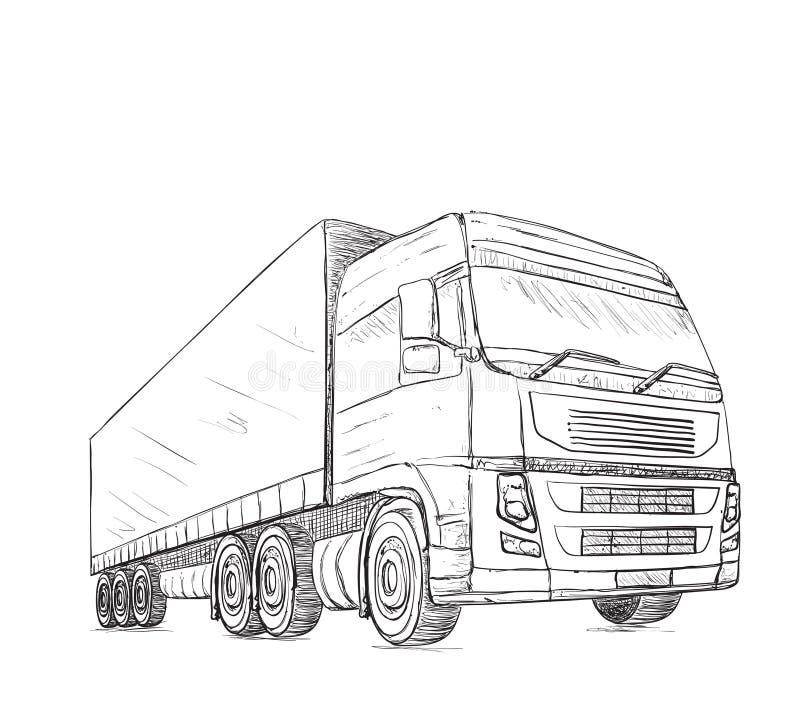 tło pracownik pudełkowaty doręczeniowy przystojny odosobniony nadmierny usługowy biały Ręka rysująca ciężarówka ilustracji