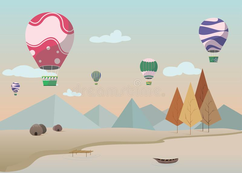 Tło projekt z naturą spadochronem i, Desktop tapety wektor ilustracja wektor