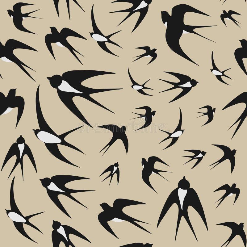 tło ptaki gromadzą się nad bezszwowym dymówek tekstury wektoru biel ilustracja wektor