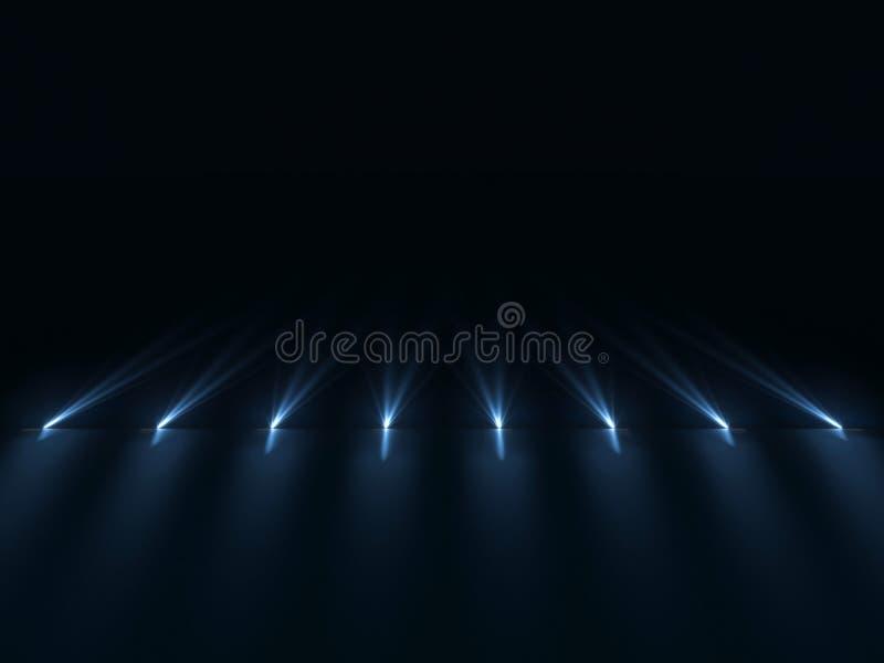 Tło pusty ciemny podium z menchii i purpur światłami zdjęcia royalty free