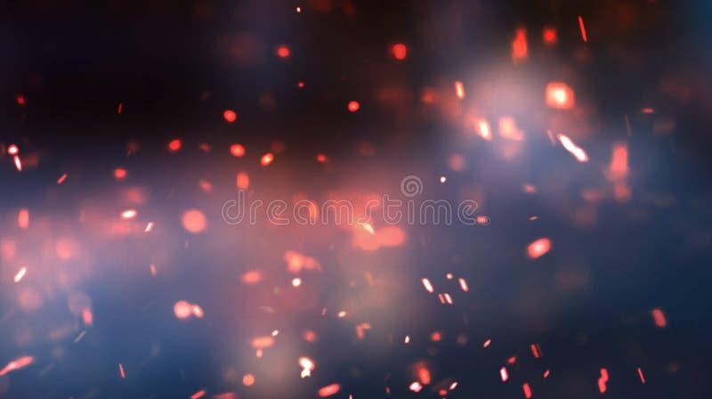Tło pusty ciemny pokój z betonową podłoga Puste ściany, neonowy światło, dym Bokeh tła zmrok, jaskrawe latanie iskry Emp fotografia stock