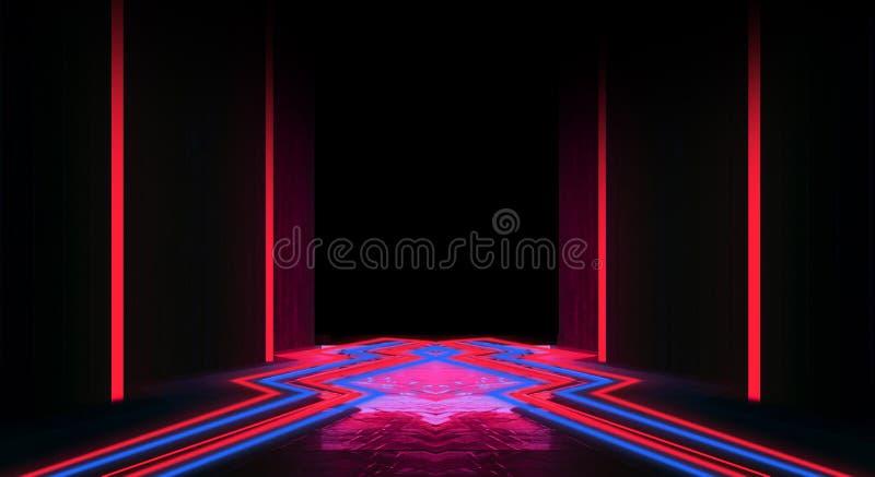 Tło pusty czarny korytarz z neonowym światłem Abstrakcjonistyczny tło z liniami i łuną royalty ilustracja