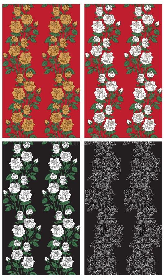 Tło róże na czerni i czerwieni royalty ilustracja