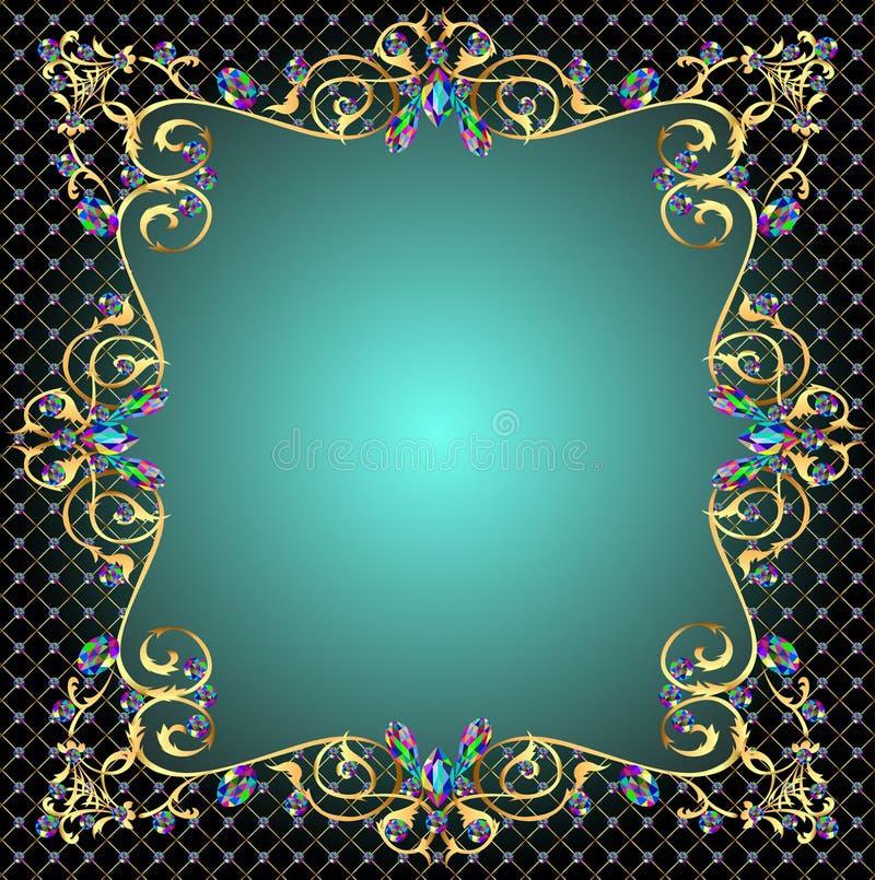 Tło rama z klejnotami złociści ornamenty ilustracja wektor