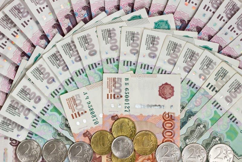 Tło Rosyjscy banknoty obraz stock