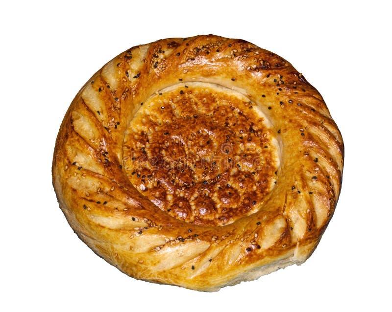 Tło - round tradycyjny Azjatycki tandoor chleb odizolowywający na białym tle obraz royalty free
