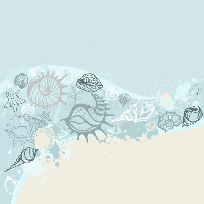 tło rysujący ręki ilustraci morze ilustracja wektor