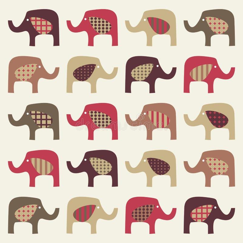 tło słonie kolorowi śliczni ilustracja wektor