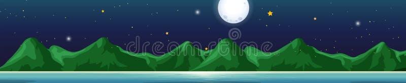 Tło scena z górami przy nocą ilustracji