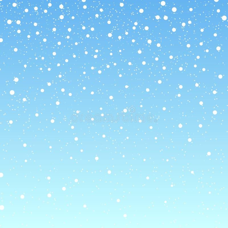 tło spadnie śnieg Wektorowa ilustracja z płatkami śniegu Zimy snowing niebo ilustracja wektor