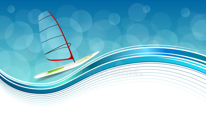 Tło sporta wakacji projekta abstrakcjonistycznej dennej czerwieni błękita zielona windsurfing ramowa ilustracja ilustracja wektor