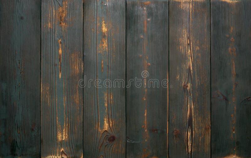 Tło starego rocznika drewniane deski zielony kolor Silnie będący ubranym i drapający obrazy royalty free