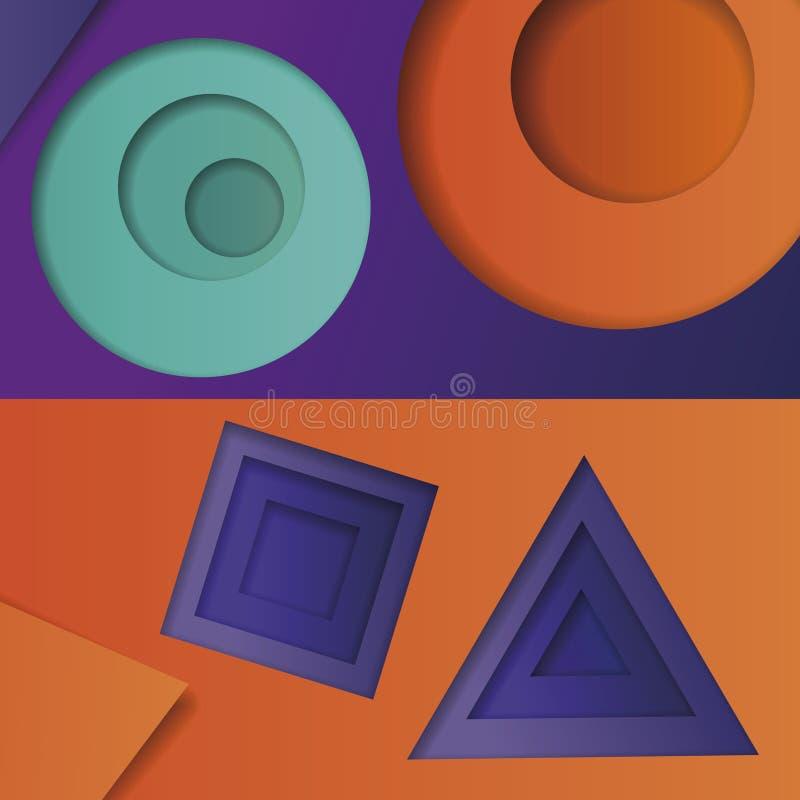 Tło stubarwny abstrakcjonistyczny wektor w stylu materialnego projekta z geometrycznymi kształtami różni rozmiary Multilayer ci royalty ilustracja