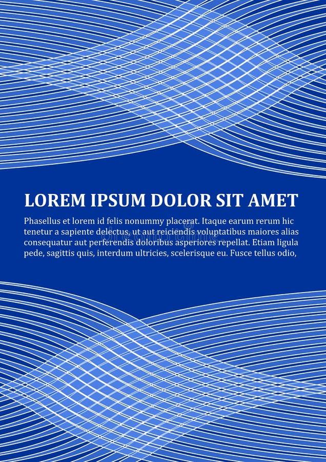 Tło szablon w nowożytnym błękitnym projekcie z abstrakcjonistycznymi falistymi kształtami, białej linii projekt, miejsce dla teks ilustracja wektor