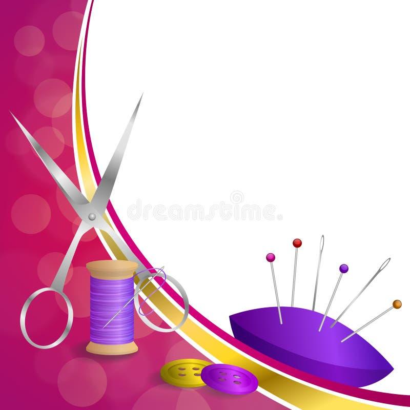 Tło szwalnej nici wyposażenia nożyc guzika igły szpilki abstrakcjonistycznych menchii żółtego złota faborku ramy fiołkowa czerwon ilustracji