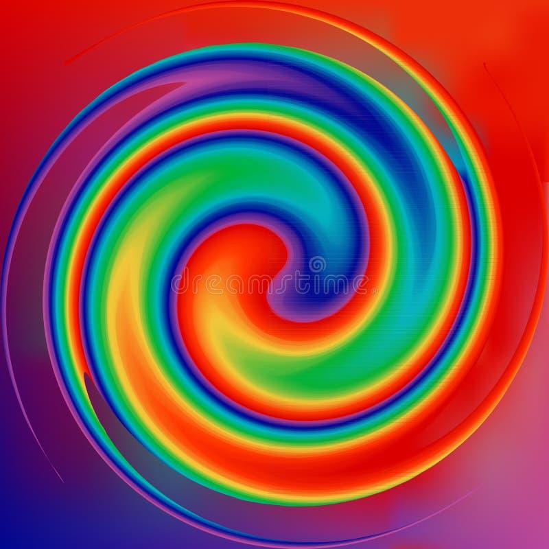 Tło tęczy o kolorze wirowym Iluzja wirowania promieniowego w układzie projektowym Kolorowy wir skręcający w kierunku środka Okrąg ilustracji
