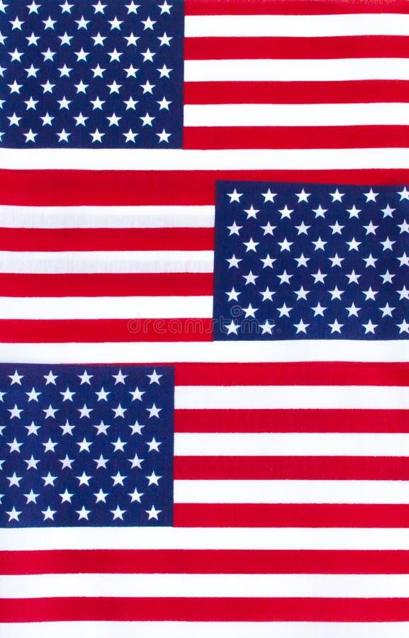 Tło tapety trzy flagi amerykańskie z rzędu zdjęcie royalty free