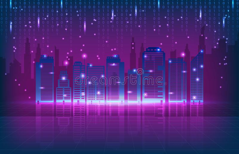 Tło technologii miasta podłączeniowy wierza retro brzmienie ilustracji