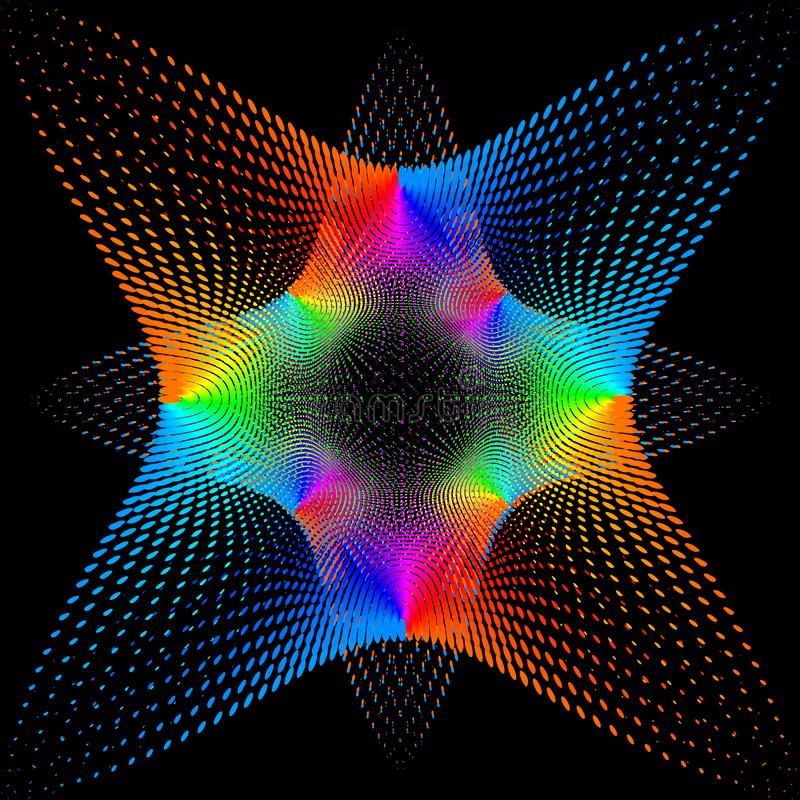 Tło, tekstura, abstrakcja Koloru punkt gwiazda lub kwiat izoluje na czarnym tle royalty ilustracja