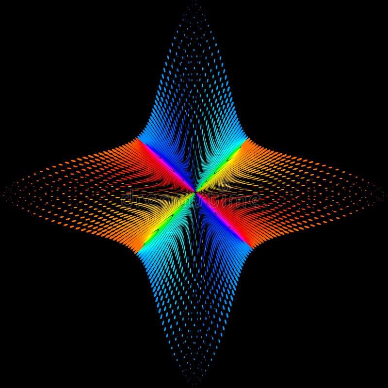 Tło, tekstura, abstrakcja Koloru punkt gwiazda lub kwiat izoluje na czarnym tle ilustracja wektor
