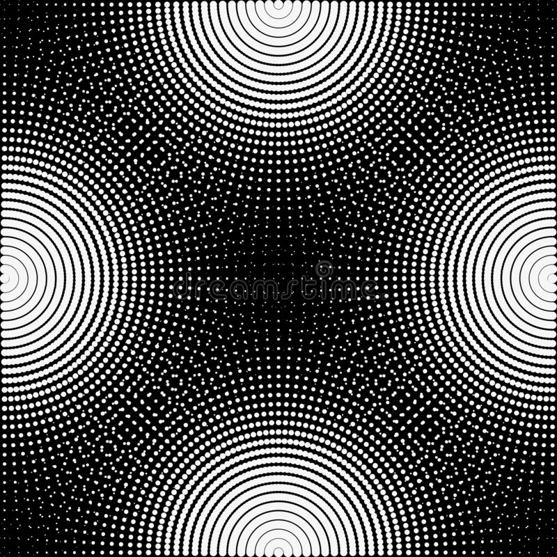 Tło, tekstura, abstrakt Czarny i biały okręgi, piłki na czarnym tle izolują ilustracja wektor