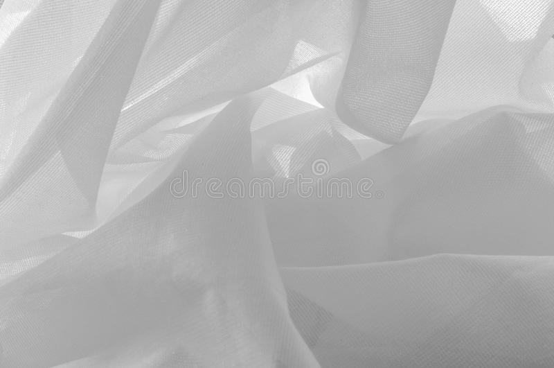 tło tekstura, biały szeroki nylonowy tiul Cieszy się widoki t zdjęcia stock
