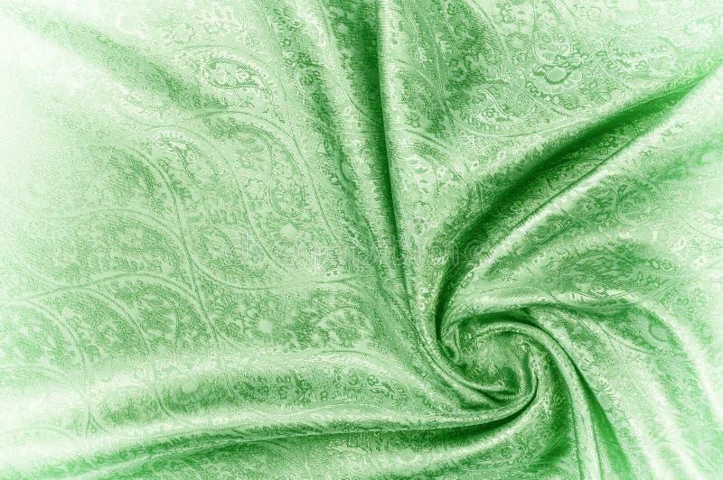 Tło tekstura, wzór Paisley jedwabiu zieleni Jacquard jest co obraz stock