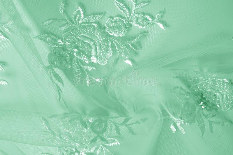 Tło tekstura, wzór zielony tiul Dodaje antykwarskiego dotyka t zdjęcia stock
