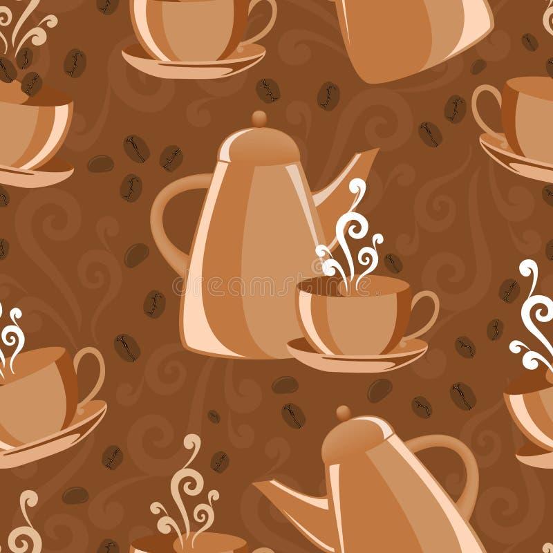 tło temat kawowy bezszwowy royalty ilustracja