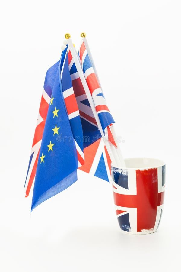 Tło UE i UK flagi obrazy royalty free