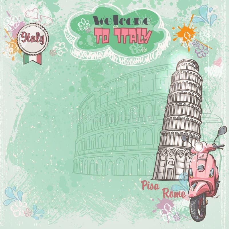 Tło Włochy dla twój teksta z wizerunkiem Colosseum Oparty wierza i różowy moped, royalty ilustracja