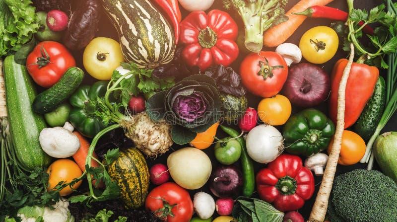Tło warzyw różni świezi rolni warzywa Karmowej lub Zdrowej diety pojęcie odgórny widok i lekcy skutki, obrazy royalty free