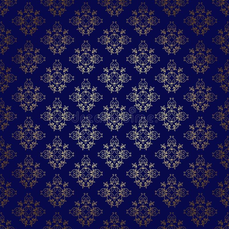 tło wektor błękitny złocisty gradientowy bezszwowy royalty ilustracja