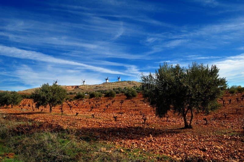 tło wiatraczki krajobrazowi hiszpańscy obraz stock