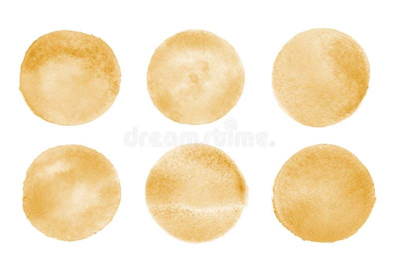 Tło wizerunek abstrakcjonistyczni akwarela punkty tworzy round kształt pomarańczowy kolor obraz royalty free