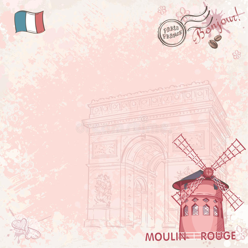 Tło wizerunek na Paris przedstawia Moulin szminkę ilustracja wektor