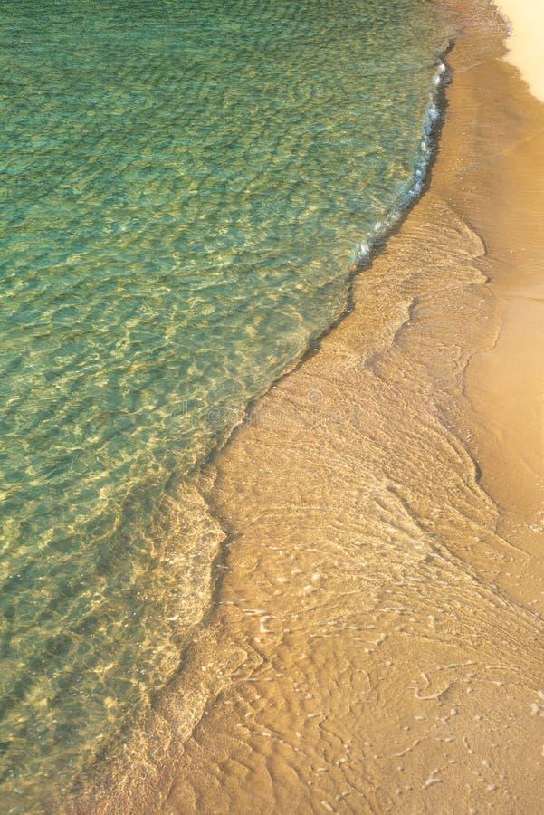 Tło wizerunek Turkusowy morze na Złotym piasku Przeglądać z góry obrazy royalty free